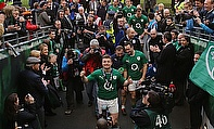 Ireland's Brian O'Driscoll leaves the pitch during his last home game.