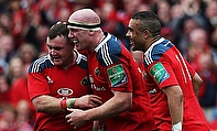 Dave Kilcoyne (left) is congratulated after his try