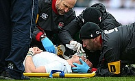 Mike rown was removed by stretcher in the early stages of England's 47-17 victory over Italy