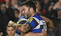 Bath Rugby's Matt Banahan celebrates a try in the win over Leicester