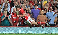 Harry Robinson scores a try on his Wales debut against the Barbarians in 2012