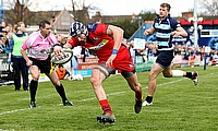 Ryan Edwards touches down for Bristol Rugby