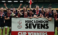 Scotland celebrate their World Sevens Series win at Twickenham