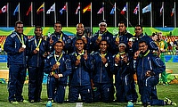 Fiji Sevens side with their Olympic Gold medals