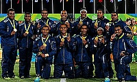 Fiji team with their gold medal in the Rugby 7s at Rio Olympics
