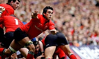 Jonathan Thomas, with hands out, was forced to retire from rugby last year after being diagnosed with epilepsy thought to be linked to head traumas su