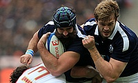 Scotland's Josh Strauss, centre, was injured in Paris