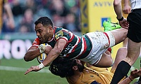 Leicesters Telusa Veainu scores a try during the Aviva Premiership match at Welford Road