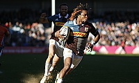 Marland Yarde runs in to score the fourth Harlequins try