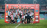 Fiji Sevens team celebrating the win in Hong Kong