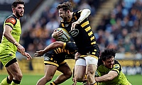 Elliot Daly is tackled by Matt Smith during the Aviva Premiership match at the Ricoh Arena in January