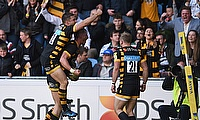 Jimmy Gopperth leaps on Josh Bassett as Wasps celebrate the latter's late winner