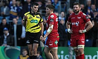 Scarlets wing Steff Evans. centre, was sent off during the Guinness PRO12 semi-final against Leinster