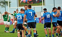 Italian players celebrate their 22-21 victory over 2016 runners-up Ireland at AIA Arena
