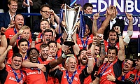 Saracens celebrate after winning a second successive Champions Cup in May
