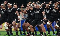 New Zealand perform the haka ahead of their semi-final with France