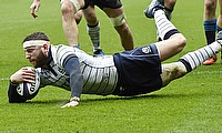 Duncan Taylor, Finn Russell, pictured, and Hamish Watson crossed for Scotland