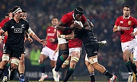 British and Irish Lions' Maro Itoje, pictured with the ball, scored a vital try against the Maori All Blacks