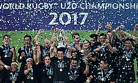 New Zealand captain Luke Jacobson holds aloft the trophy after his side beat England 64-17 in the final of the World Rugby U20 Championship 2017