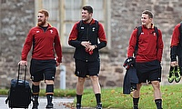 Rory Thornton, second from left, will make his Wales debut against Samoa