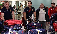 Sam Warburton, centre, arrived back at Heathrow with the Lions squad on Wednesday afternoon