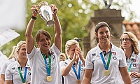 England Women's team celebrating their win in 2014 World Cup