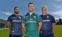 James Marshall (centre) modelling the London Irish 2017/18 Home shirt and Blair Cowan (left) and Petrus Du Plessis (right) in this season's training g