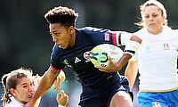 Kris Thomas touched down twice for the USA against Italy