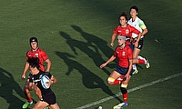 Portia Woodman, with the ball, scored eight tries