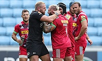 England team-mates James Haskell (left) and Joe Marley clash
