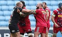 Joe Marler, centre, has been hit with the off-field equivalent of a yellow card by the RFU
