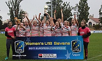 England Women Under 18 Sevens celebrating the win in the Rugby Europe Under 18 Championship