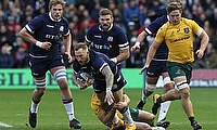 Byron McGuigan scored Scotland's first try against Australia at Murrayfield