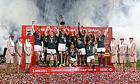 South Africa 7s team celebrating the success in the Dubai Sevens