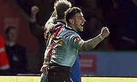 Danny Care celebrates the Quins win at the Stoop