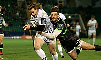 Jeff Hassler (left) goes over for Ospreys' sixth try of the night