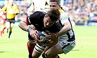 Michael Rhodes (left) in action for Saracens