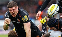 Exeter's Dave Ewers scored the first try in the victory over Montpellier