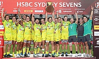 Australia celebrating the Sydney Sevens series victory