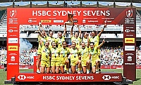 Australia Women's side celebrating the win in Sydney 7s