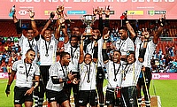 Fiji 7s team celebrating the win in Hamilton Sevens