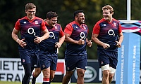 Owen Farrell, left, and Jamie George, second left, are friends off the field as well as team-mates on it for England and Saracens