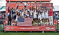 USA 7s team posing after winning the Las Vegas Sevens