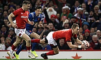 Wale's Liam Williams scores his side's first try during the NatWest 6 Nations match at the Principality Stadium, Cardiff.