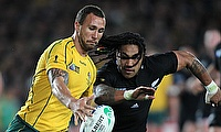 Quade Cooper (left) in action for Australia during the 2011 World Cup