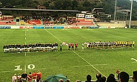 England Counties U20s line up against Georgia U20s