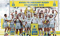 Saracens winning the 2018 Aviva Premiership title