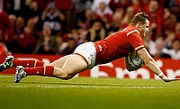 Hallam Amos scored the opening try for Wales