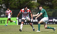 Ireland fly-half Harry Byrne passes during their 11th place play-off with Japan on day five of the World Rugby U20 Championship