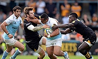 Sinoti Sinoti (centre) believes Newcastle Falcons can upset Toulon